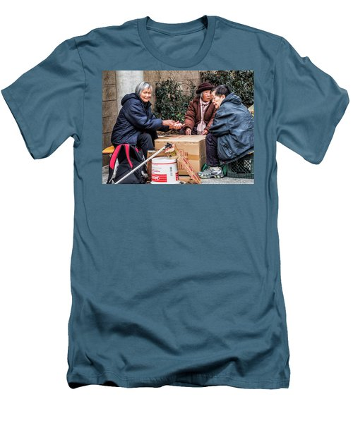 Playing Cards In Chinatown Men's T-Shirt (Athletic Fit)