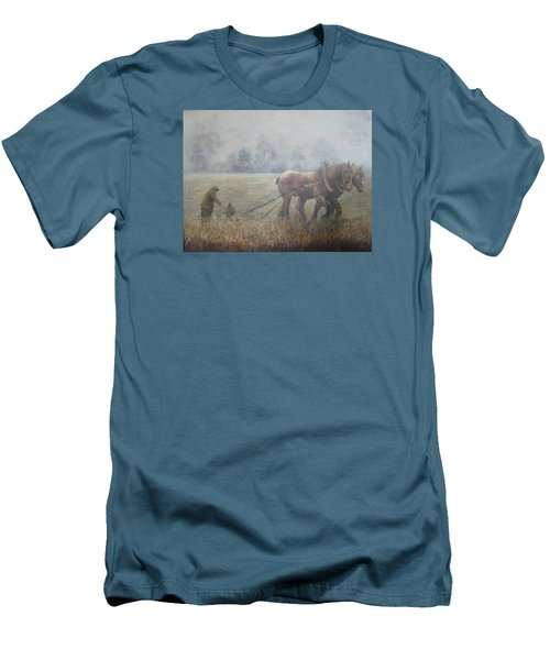 Plowing It The Old Way Men's T-Shirt (Slim Fit) by Donna Tucker