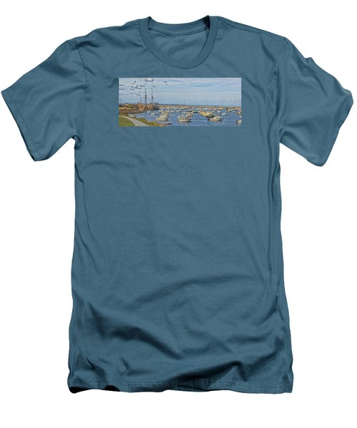 Plymouth Harbor In September Men's T-Shirt (Slim Fit) by Constantine Gregory