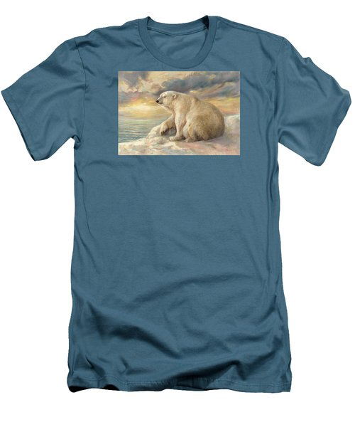 Men's T-Shirt (Slim Fit) featuring the painting Polar Bear Rests On The Ice - Arctic Alaska by Svitozar Nenyuk