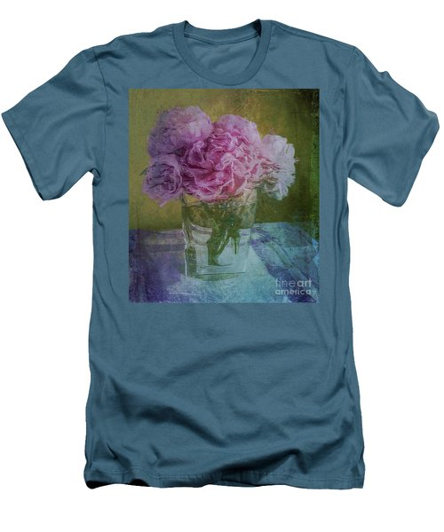 Men's T-Shirt (Slim Fit) featuring the digital art Polite Peonies by Alexis Rotella