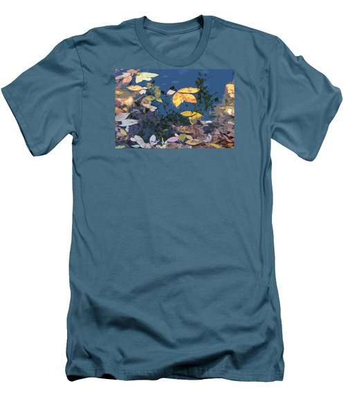 Men's T-Shirt (Slim Fit) featuring the photograph Autumn Leaves On The Pond by Spyder Webb