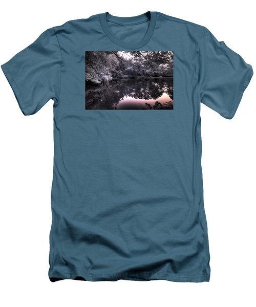 Men's T-Shirt (Slim Fit) featuring the photograph Pondside Dusk by William Fields