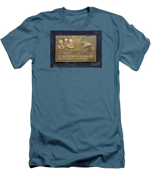 Pony Express Brass Plaque Men's T-Shirt (Slim Fit) by Linda Phelps