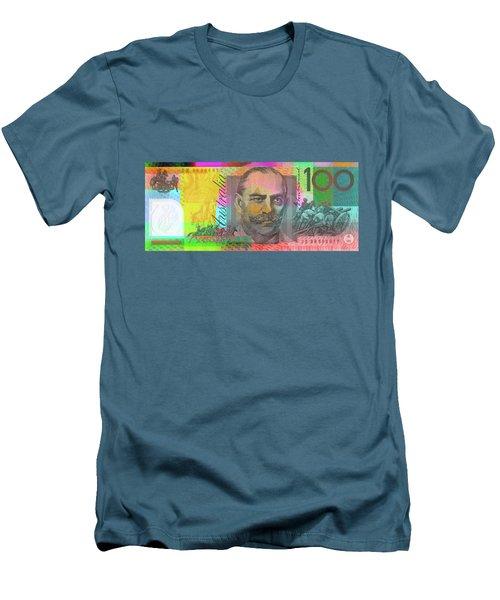 Pop Art Colorized One Hundred Australian Dollar Bill Men's T-Shirt (Athletic Fit)