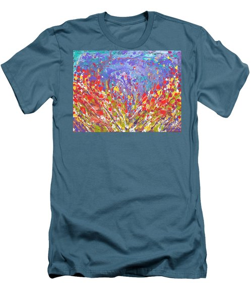 Poppies Abstract Meadow Painting Men's T-Shirt (Athletic Fit)