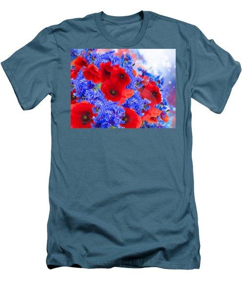 Poppy And Cornflower Flowers Men's T-Shirt (Slim Fit) by Anastasy Yarmolovich