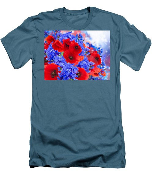 Poppy And Cornflower Flowers Men's T-Shirt (Athletic Fit)