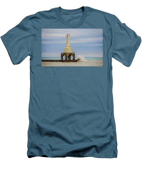 Men's T-Shirt (Slim Fit) featuring the photograph Port Washington Light 3 by Deborah Smolinske