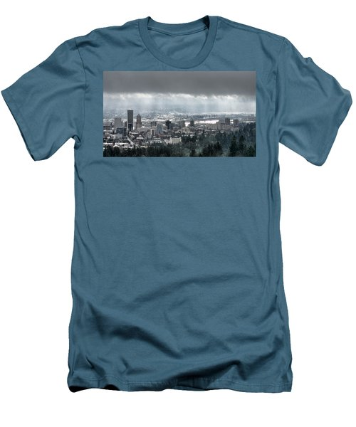 Portland After A Morning Rain Men's T-Shirt (Slim Fit) by Don Schwartz