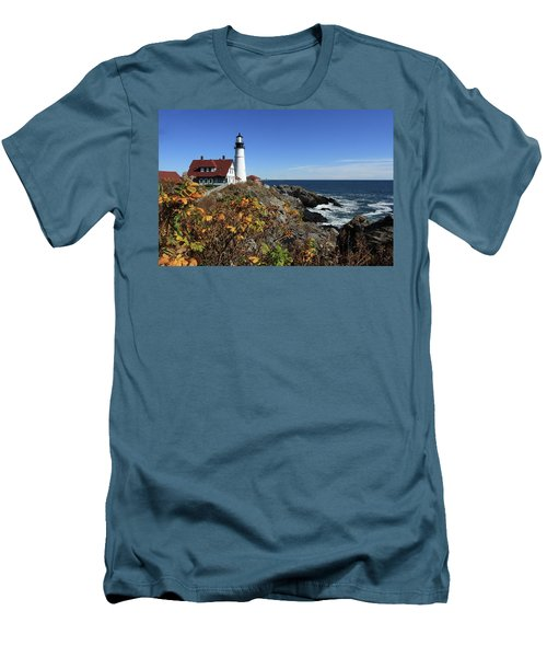 Portland Head Lighthouse In The Fall Men's T-Shirt (Slim Fit) by Lou Ford