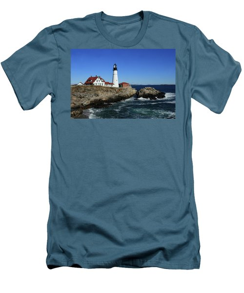 Portland Head Lighthouse Men's T-Shirt (Slim Fit) by Lou Ford