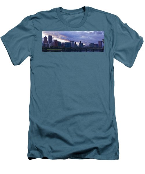 Portland Oregon Panorama Men's T-Shirt (Slim Fit) by Jonathan Davison