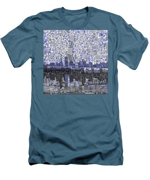 Portland Skyline Abstract Nb Men's T-Shirt (Slim Fit) by Bekim Art