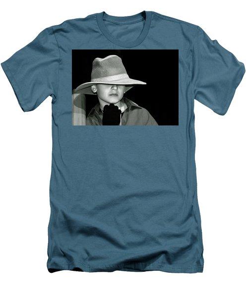 Portrait Of A Boy With A Hat Men's T-Shirt (Slim Fit) by Alex Galkin