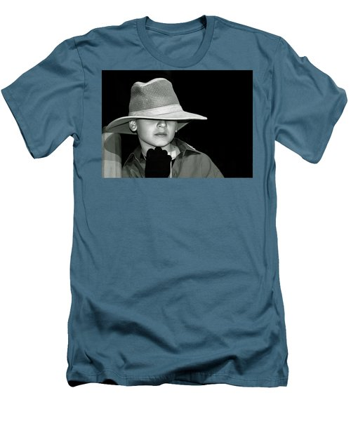 Portrait Of A Boy With A Hat Men's T-Shirt (Athletic Fit)