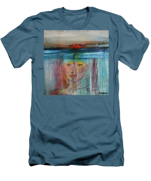 Men's T-Shirt (Slim Fit) featuring the painting Portrait Of A Refugee by Kim Nelson
