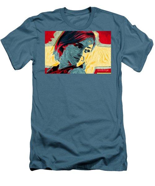 Men's T-Shirt (Slim Fit) featuring the digital art Portrait Of Emma Watson by Zedi