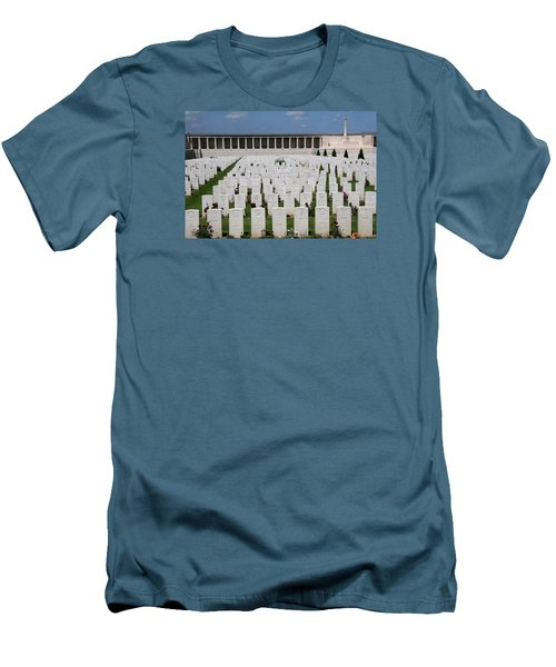 Men's T-Shirt (Slim Fit) featuring the photograph Pozieres British Cemetery by Travel Pics