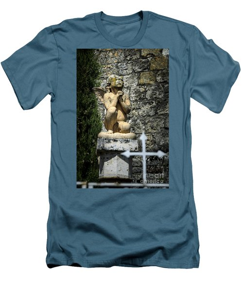 Praying Angel In Auvillar Cemetery Men's T-Shirt (Slim Fit) by RicardMN Photography