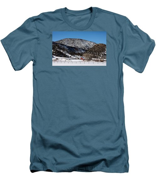 Pretty Red Barns From The Highway Between Aspen And Snowmass Men's T-Shirt (Slim Fit) by Carol M Highsmith