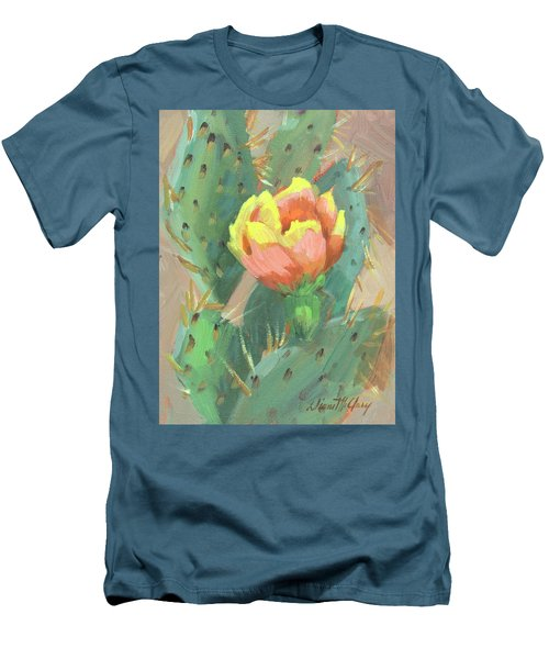 Men's T-Shirt (Slim Fit) featuring the painting Prickly Pear Cactus Bloom by Diane McClary