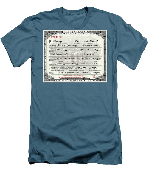 Men's T-Shirt (Slim Fit) featuring the photograph Prohibition Prescription Certificate Carrie Nation Speakeasy by David Patterson