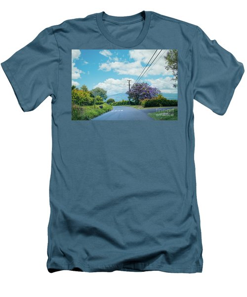 Pulehuiki Road Upcountry Kula Maui Hawaii Men's T-Shirt (Slim Fit) by Sharon Mau
