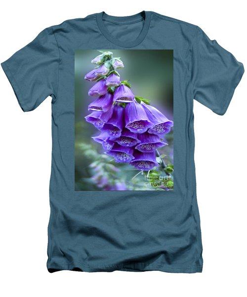 Purple Bell Flowers Foxglove Flowering Stalk Men's T-Shirt (Slim Fit) by Carol F Austin