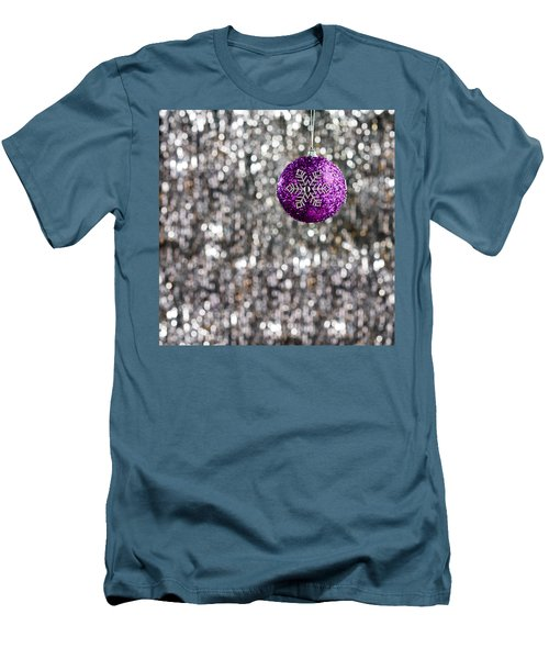 Men's T-Shirt (Slim Fit) featuring the photograph Purple Christmas Bauble  by Ulrich Schade