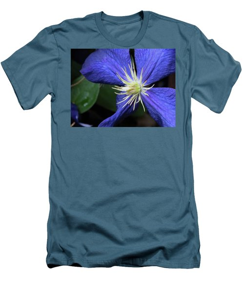 Purple Clematis Men's T-Shirt (Slim Fit) by Rebecca Overton