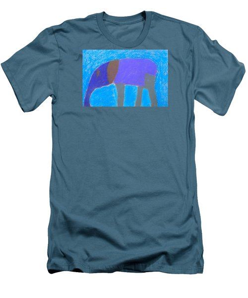 Men's T-Shirt (Slim Fit) featuring the pastel Purple Elephant by Artists With Autism Inc