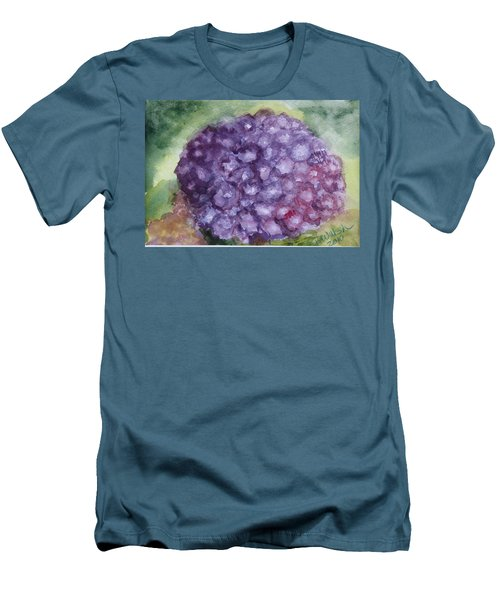 Men's T-Shirt (Slim Fit) featuring the painting Purple Hydrangea by Donna Walsh