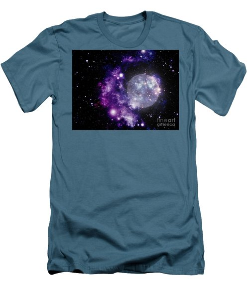 Purple Nebula Men's T-Shirt (Slim Fit) by Kelly Awad