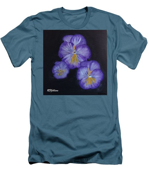 Purple Pansies Men's T-Shirt (Slim Fit) by Rod Jellison