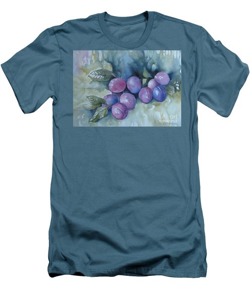 Men's T-Shirt (Slim Fit) featuring the painting Purple Plums by Elena Oleniuc