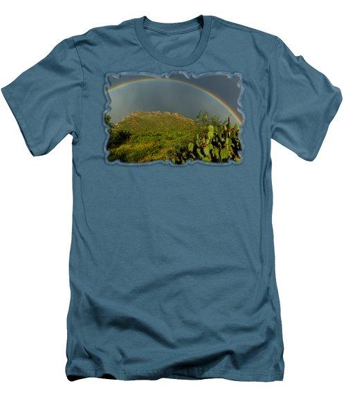 Pusch Ridge Rainbow H38 Men's T-Shirt (Slim Fit) by Mark Myhaver