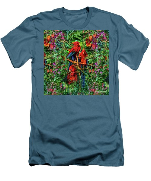 Men's T-Shirt (Athletic Fit) featuring the digital art Qualia's Parrots by Russell Kightley