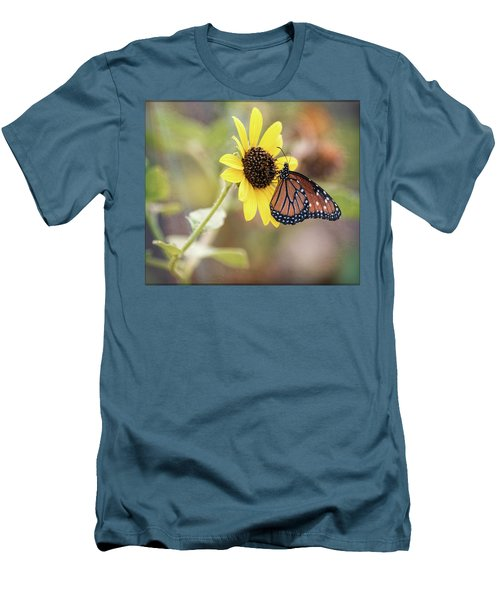 Men's T-Shirt (Athletic Fit) featuring the photograph Queen Butterfly Atop A Sunflower  by Saija Lehtonen