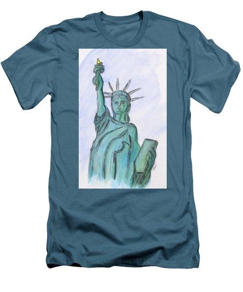 Queen Of Liberty Men's T-Shirt (Slim Fit)