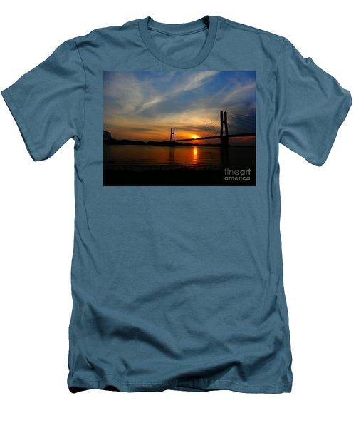 Quincy Bay View Bridge Sunset Men's T-Shirt (Slim Fit) by Justin Moore