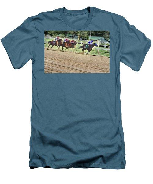 Men's T-Shirt (Slim Fit) featuring the digital art Race Horses In Motion by Lise Winne