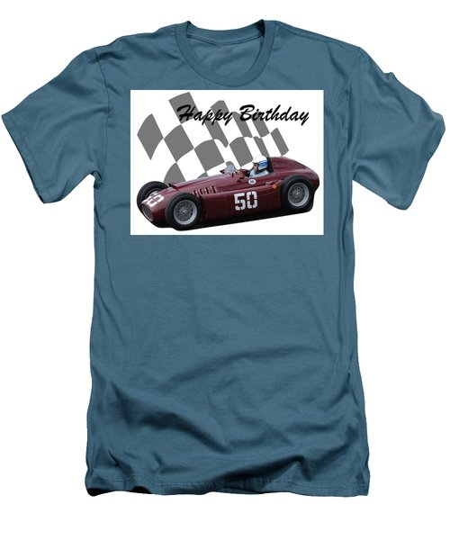 Men's T-Shirt (Slim Fit) featuring the photograph Racing Car Birthday Card 1 by John Colley