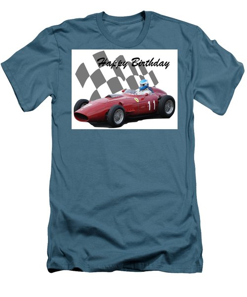 Men's T-Shirt (Slim Fit) featuring the photograph Racing Car Birthday Card 2 by John Colley