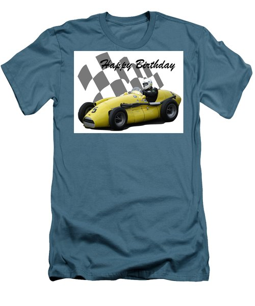 Men's T-Shirt (Slim Fit) featuring the photograph Racing Car Birthday Card 4 by John Colley