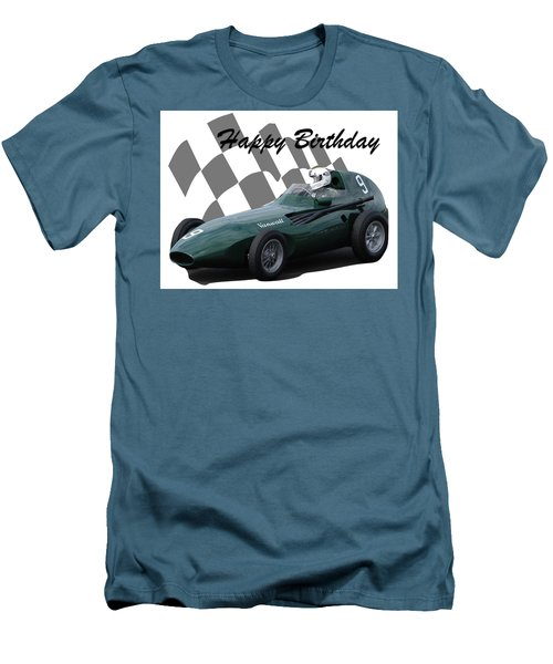 Men's T-Shirt (Slim Fit) featuring the photograph Racing Car Birthday Card 5 by John Colley