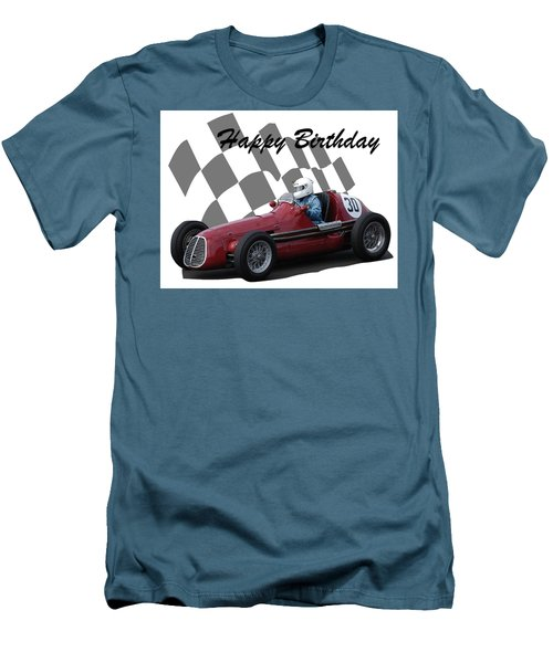 Men's T-Shirt (Slim Fit) featuring the photograph Racing Car Birthday Card 6 by John Colley