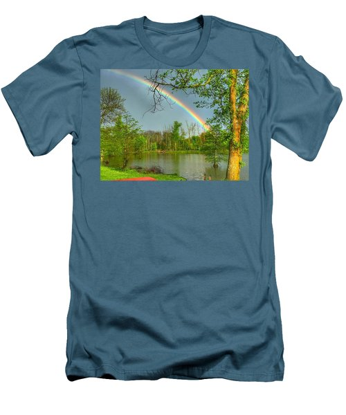 Men's T-Shirt (Slim Fit) featuring the photograph Rainbow At The Lake by Sumoflam Photography