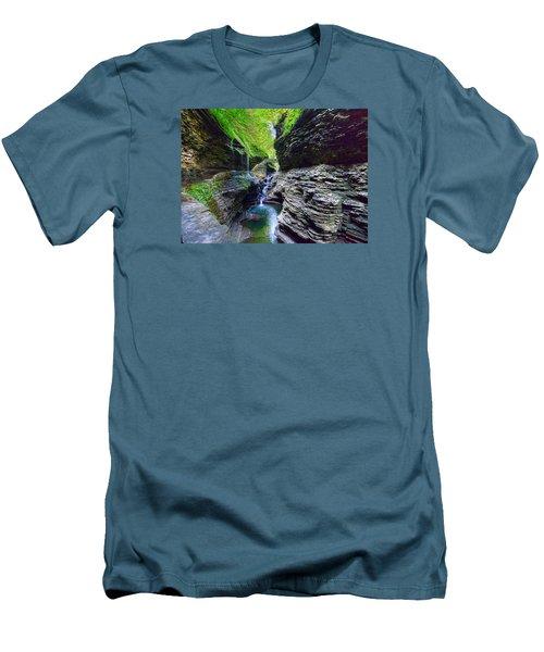 Rainbow Bridge And Falls Men's T-Shirt (Slim Fit) by Rodney Campbell