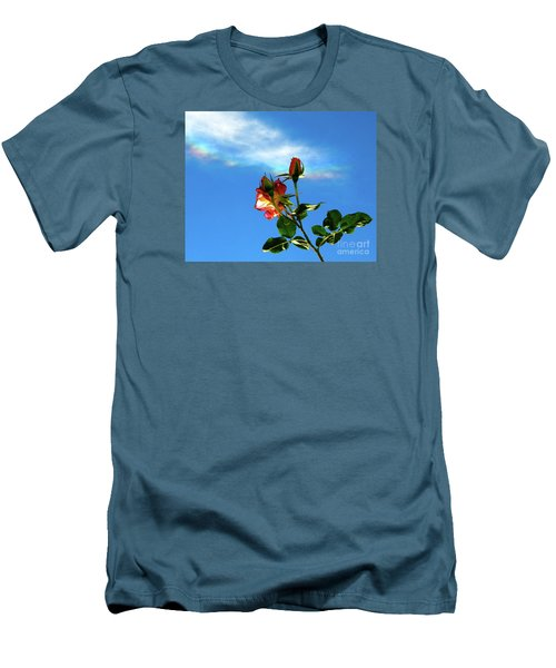 Rainbow Cloud And Sunlit Roses Men's T-Shirt (Slim Fit) by CML Brown